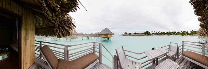 Panorama of the Overwater Bungalow at the InterContinental Bora Bora Le Moana Resort