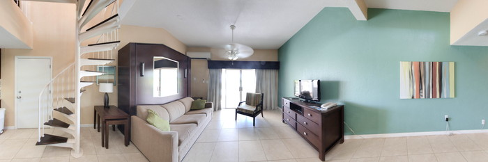 Panorama of the Parlor Loft at the Elysian Beach Resort