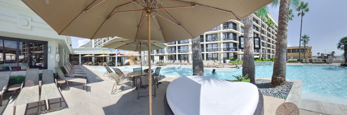 Panorama of the Pool at the Holiday Inn Resort Galveston - On the Beach