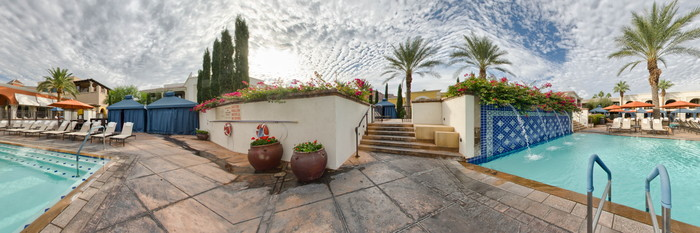 Panorama of the Kasbah Pool at the Omni Scottsdale Resort & Spa at Montelucia