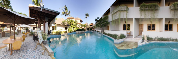 Panorama of the Pool at the Kuta Lagoon Resort & Pool Villa