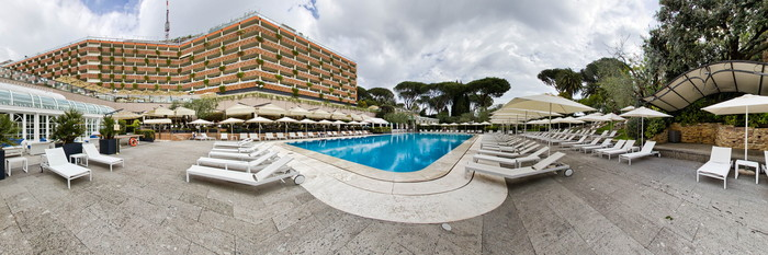 Panorama of the Pool at the Rome Cavalieri, Waldorf Astoria Hotels & Resorts