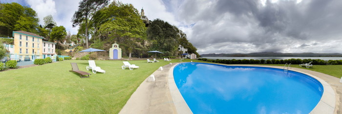 Panorama of the Pool at the Hotel Portmeirion