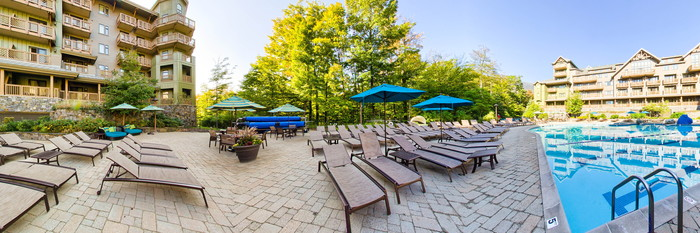 Panorama of the Pool at the Stowe Mountain Lodge