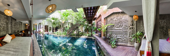 Panorama of the Pool at the Cambana d'Angkor Suites