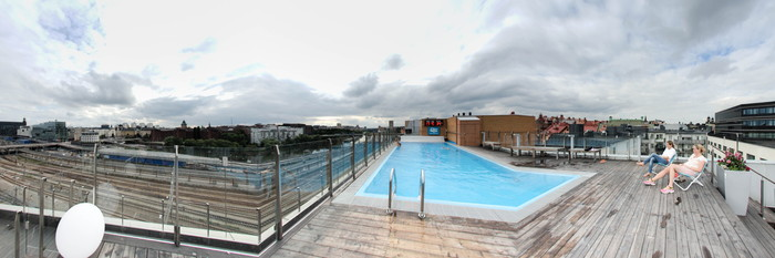 Panorama of the Pool at the Clarion Hotel Sign