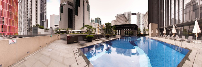 Panorama of the Pool at the Carlton City Hotel Singapore