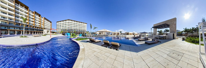 Panorama of the Pool - 2 - Lazy River at the Royalton Blue Waters
