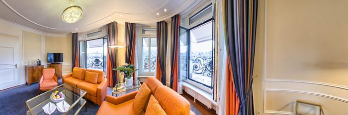Panorama of the Premium Deluxe Suite at the Hotel Schweizerhof Zurich