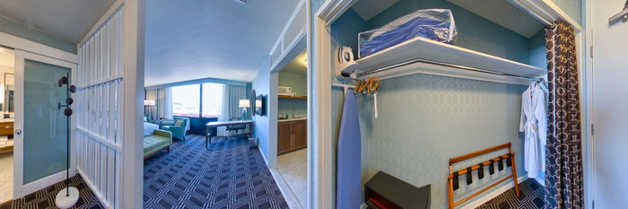 Panorama of the Presidio Room, Kitchenette at the Laurel Inn, a Joie de Vivre hotel