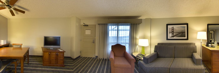 Panorama of the Queen Room (ADA Accessible) at the Embassy Suites by Hilton Hotel San Francisco Airport (SFO) - Waterfront