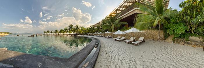 Panorama of the Sea water pool at the Amiana Resort