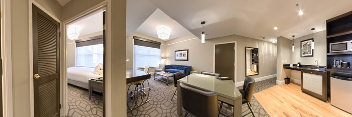 Panorama of the Signature Suite at the Magnolia Hotel Denver
