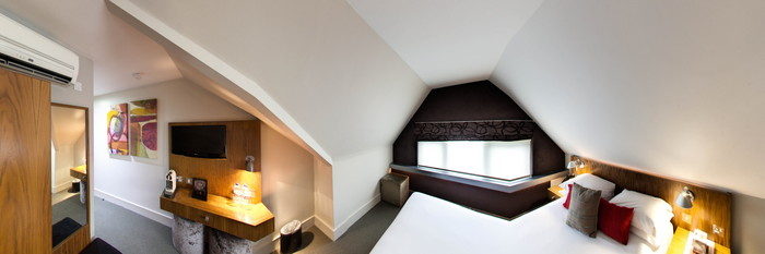 Panorama of the Street Facing Double Room at the Hotel 55
