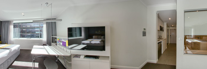 Panorama of the Studio Executive at the Citadines St Georges Terrace Perth