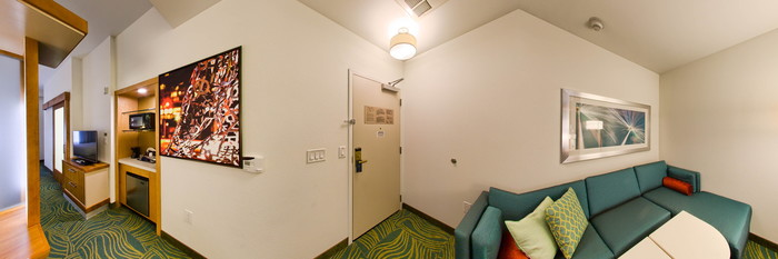 Panorama of the Studio Two Queen with Sofa Bed at the SpringHill Suites Houston Downtown/Convention Center