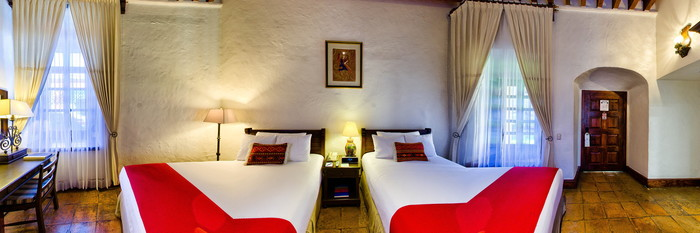 Panorama of the Suite Exterior with Double Beds at the Quinta Real Oaxaca