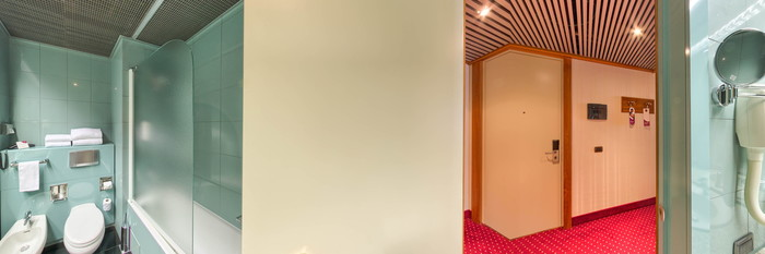 Panorama of the Suite with two bathrooms at the Crowne Plaza Milan Linate