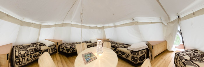 Panorama of the TeePee Tent at the Turist Grabovac