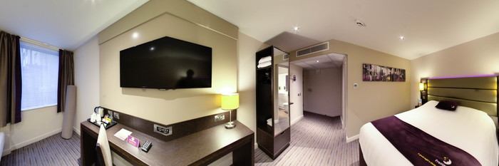 Panorama of the Three Person Family Room at the Premier Inn London Holborn Hotel