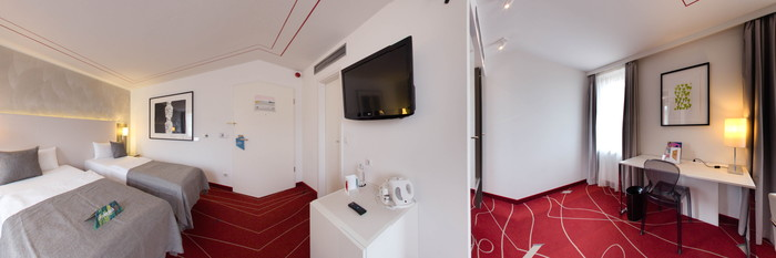 Panorama of the Twin Room at the art'otel budapest