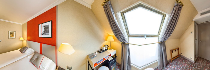 Panorama of the Two Bed Double Room at the Hotel Touraine Opera