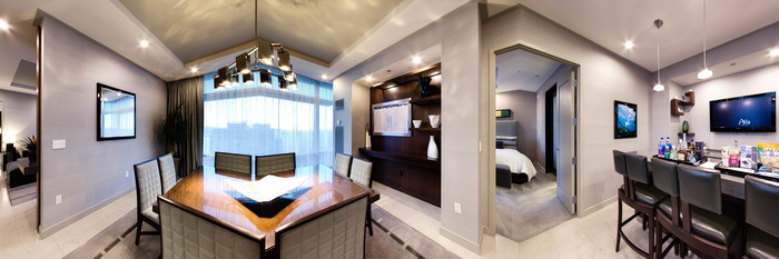 Panorama of the Two Bedroom Penthouse at the ARIA Sky Suites