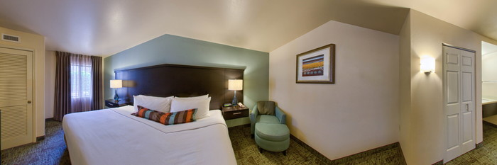 Panorama of the Two Bedroom with One King and One Queen at the Staybridge Suites