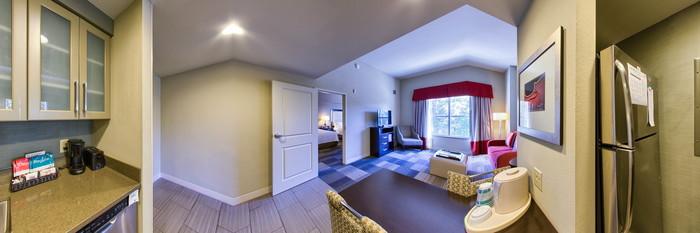 Panorama of the Two Queen Bed One Bedroom Suite at the Homewood Suites Nashville Vanderbilt