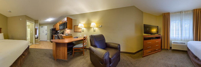 Panorama of the Two Queen Bed Studio Suite at the Candlewood Suites Tallahassee