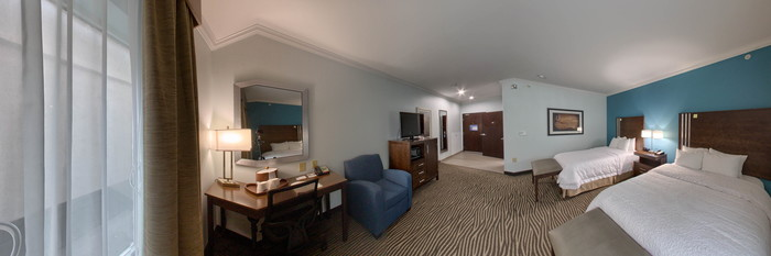 Panorama of the Two Queen Beds Accessible at the Hampton Inn & Suites Port Aransas