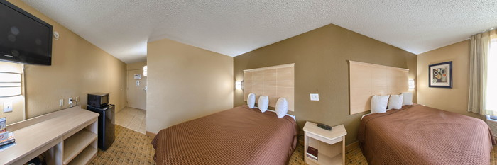 Panorama of the Two Queen Room at the Americas Best Value Inn Crabtree Raleigh