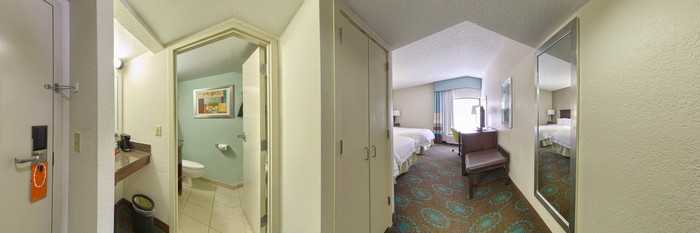Panorama of the Two Queen Standard Room at the Hampton Inn Central Naples