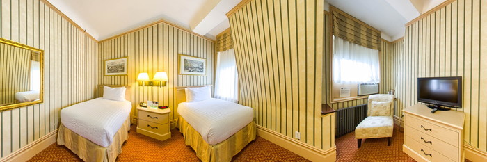 Panorama of the Two Twin Beds at the Wolcott Hotel