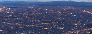 Twilight view over Bogota from Monserrate