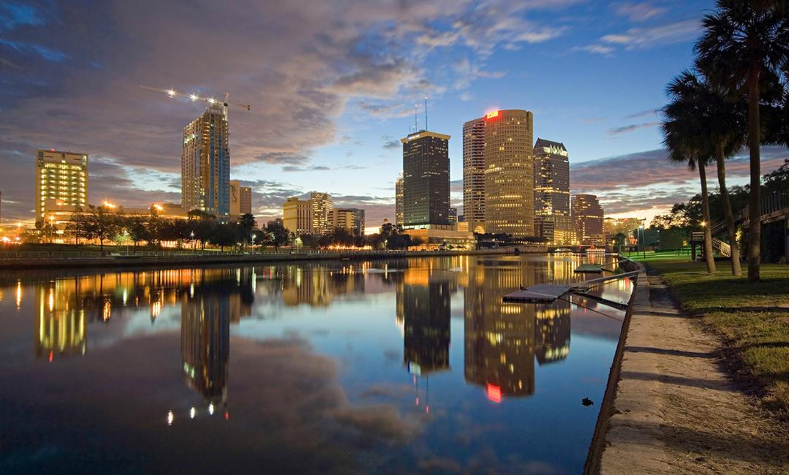 Tampa's skyline in the evening