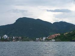 Hotel Irma on Playa Madera, from a distance on a cruise of the Zihua Bay