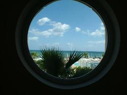 Looking out of the reception porthole window