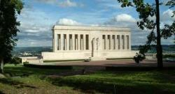 Overlooking Chateau-Thierry is WWI marble monument, French gift to Americans