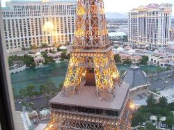 View from our 25th floor room of Bellagio Dancing waters and Eiffel Tower