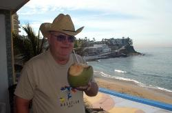 My dear old dad having a refreshment on the balcony at the Belmar.