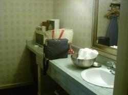 The room's counter and amenities