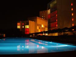 hotel pool late at night