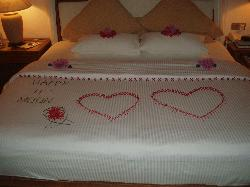 Bed decorated by our room boy
