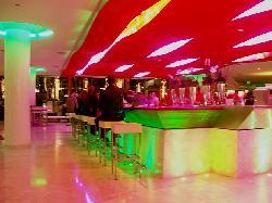 Bar area, lights above bar change color