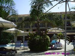 View from sunlounger towards hotel bar