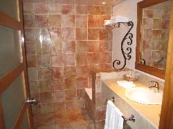 Renovated bathroom, no tub...water would be everywhere after a shower.