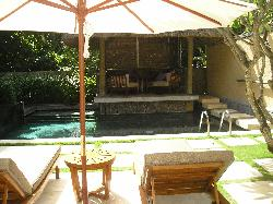 Our outdoor area with pool and kiosk
