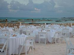 Set up on the beach for Exotic Travel party.