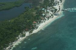 Aerial view of the resort on our flight out of Blackbird Caye